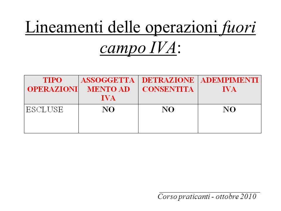 Lineamenti delle operazioni fuori campo IVA: