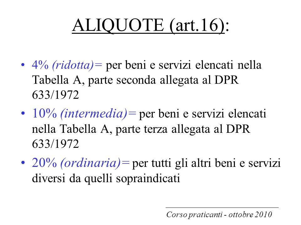 ALIQUOTE (art.16): 4% (ridotta)= per beni e servizi elencati nella Tabella A, parte seconda allegata al DPR 633/1972.