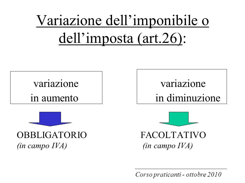 Variazione dell'imponibile o dell'imposta (art.26):
