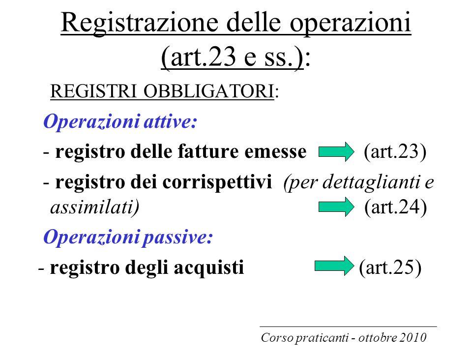 Registrazione delle operazioni (art.23 e ss.):