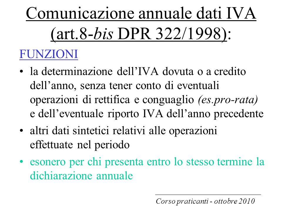 Comunicazione annuale dati IVA (art.8-bis DPR 322/1998):