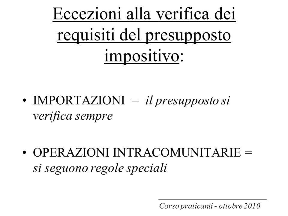 Eccezioni alla verifica dei requisiti del presupposto impositivo: