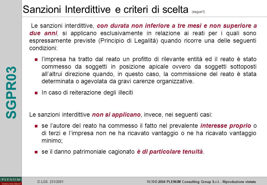 Sanzioni Interdittive e criteri di scelta (segue1)