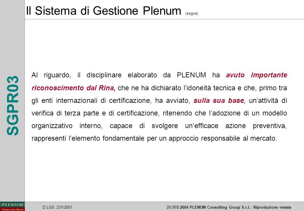 Il Sistema di Gestione Plenum (segue)
