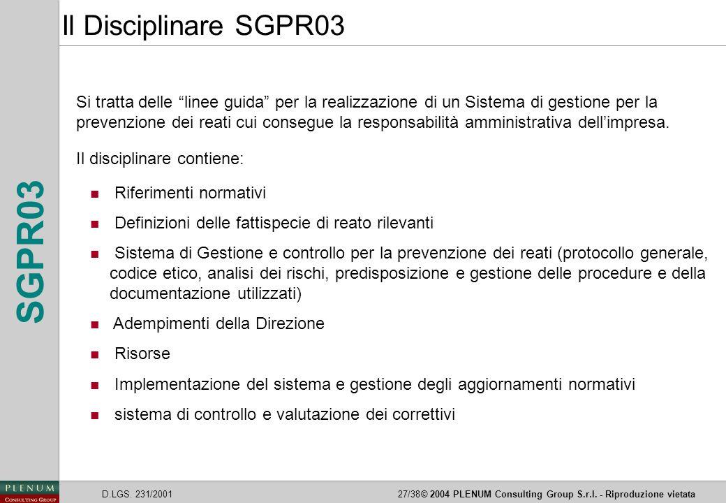 Il Disciplinare SGPR03