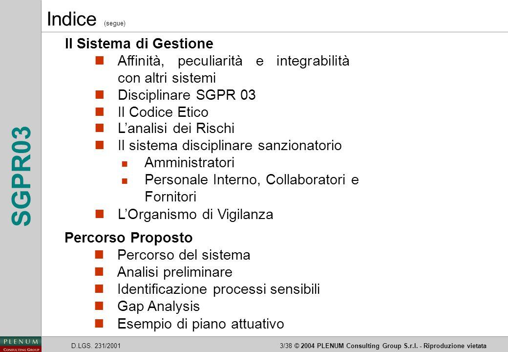 Indice (segue) Il Sistema di Gestione
