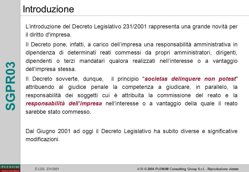 Introduzione L'introduzione del Decreto Legislativo 231/2001 rappresenta una grande novità per il diritto d impresa.