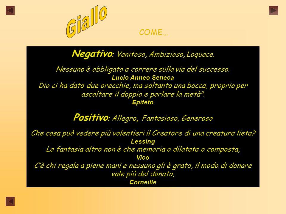 Giallo Negativo: Vanitoso, Ambizioso, Loquace.