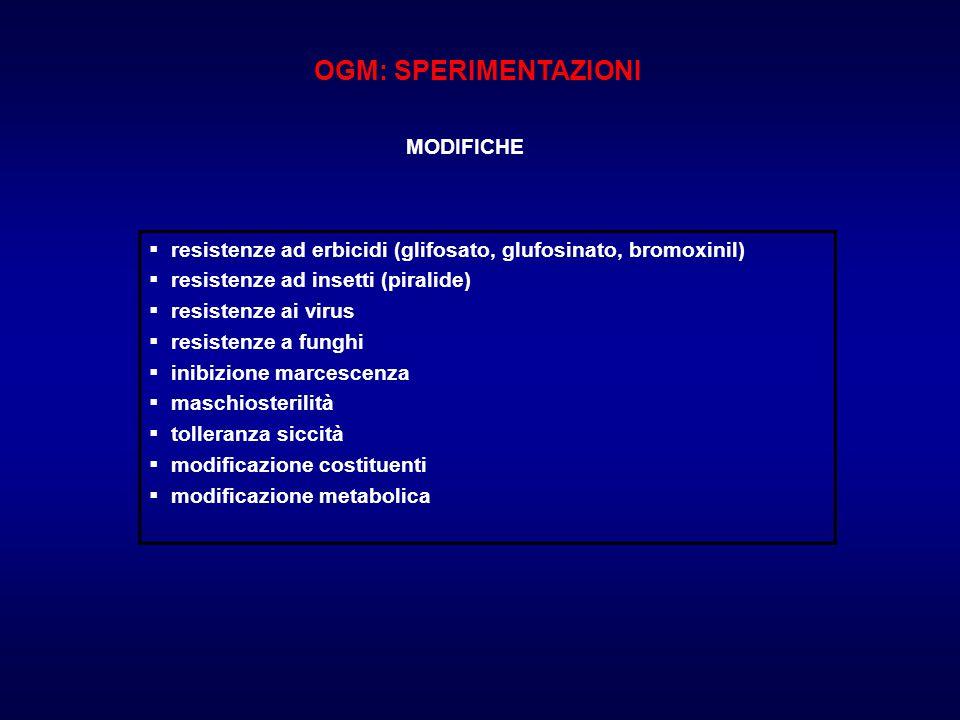 OGM: SPERIMENTAZIONI MODIFICHE. resistenze ad erbicidi (glifosato, glufosinato, bromoxinil) resistenze ad insetti (piralide)