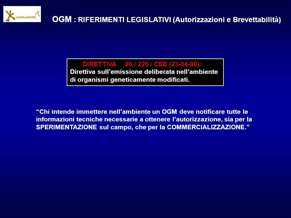 OGM : RIFERIMENTI LEGISLATIVI (Autorizzazioni e Brevettabilità)