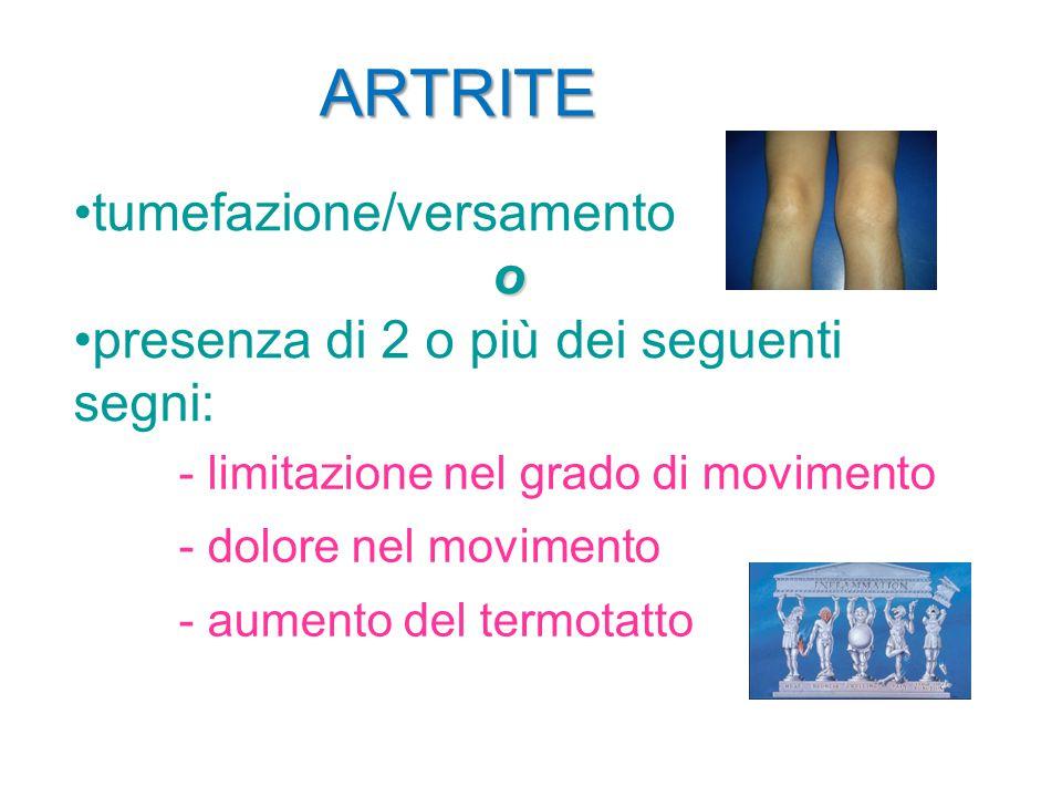 ARTRITE tumefazione/versamento o presenza di 2 o più dei seguenti