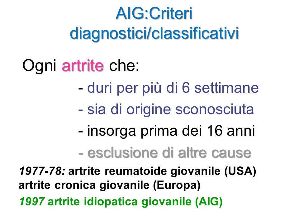 AIG:Criteri diagnostici/classificativi