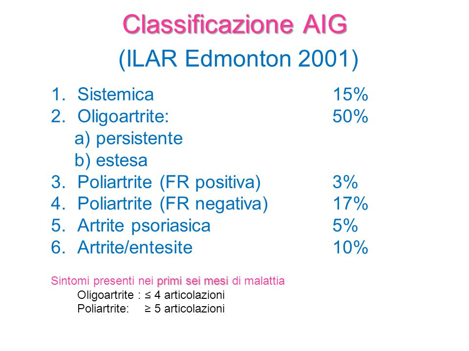 (ILAR Edmonton 2001) Classificazione AIG Sistemica 15%
