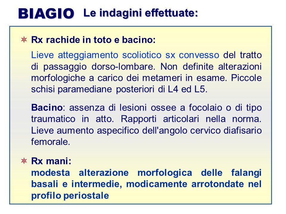 BIAGIO Le indagini effettuate: Rx rachide in toto e bacino: