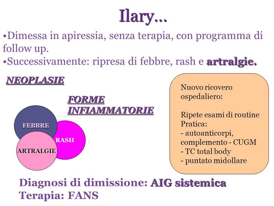 Capri Ilary… Dimessa in apiressia, senza terapia, con programma di follow up. Successivamente: ripresa di febbre, rash e artralgie.