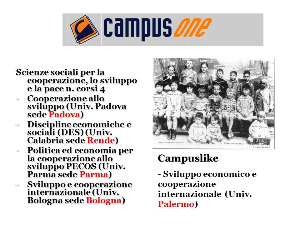 Scienze sociali per la cooperazione, lo sviluppo e la pace n. corsi 4