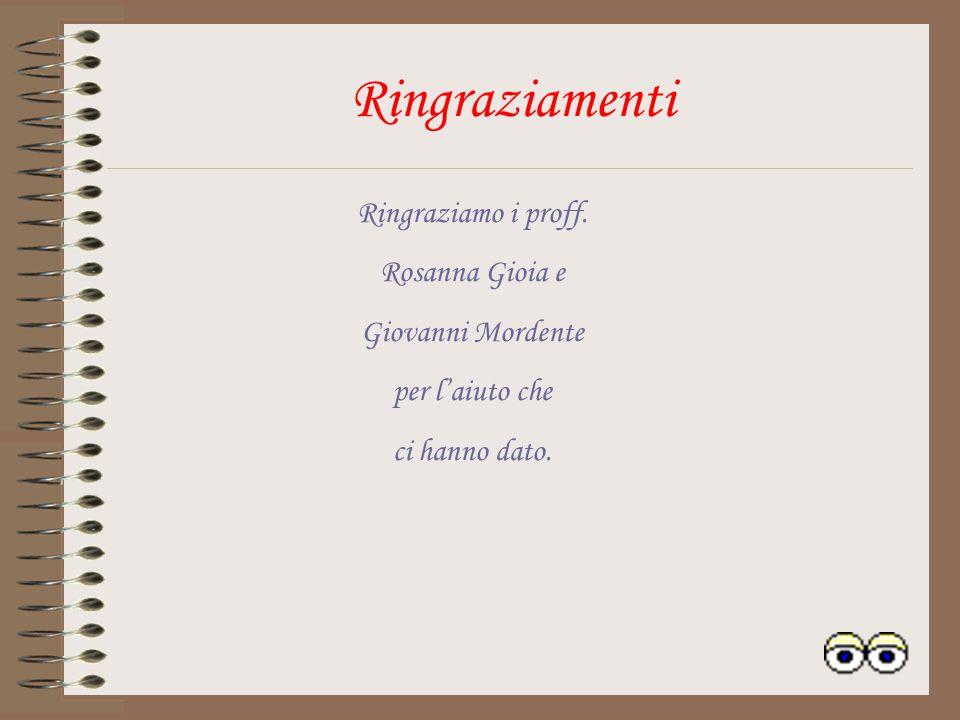 Ringraziamenti Ringraziamo i proff. Rosanna Gioia e Giovanni Mordente