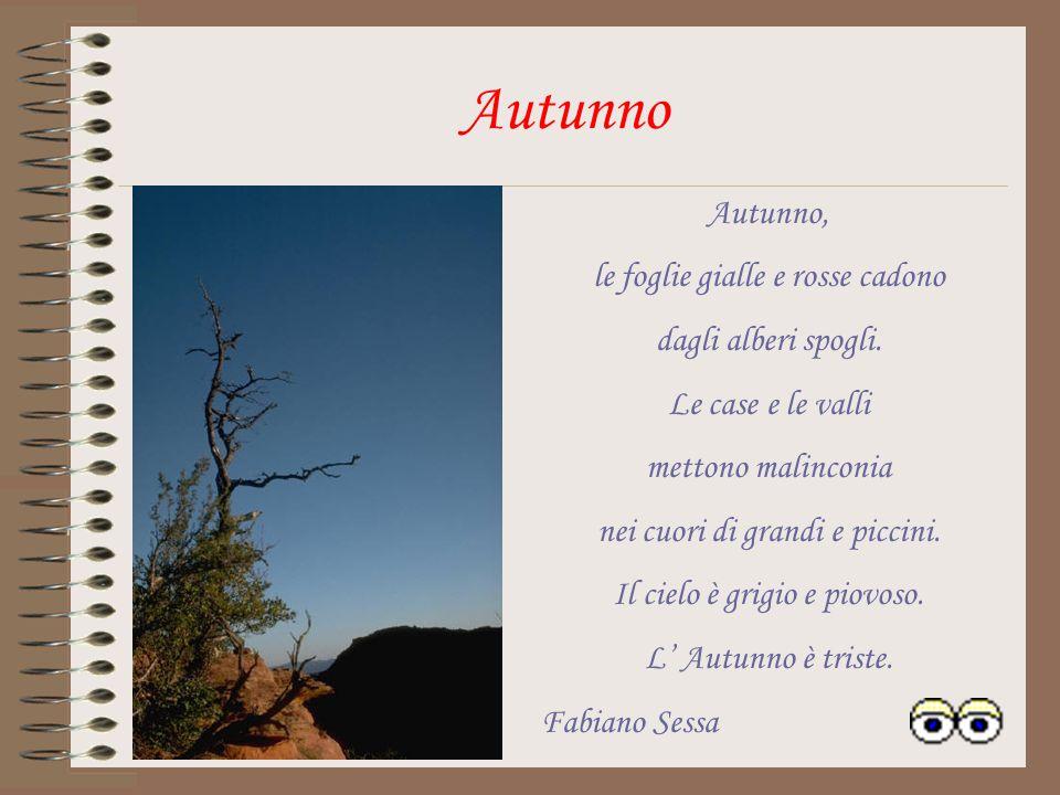 Autunno Autunno, le foglie gialle e rosse cadono dagli alberi spogli.