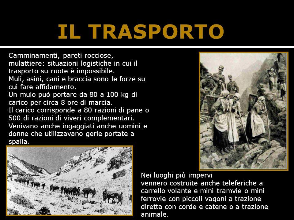 IL TRASPORTO Camminamenti, pareti rocciose, mulattiere: situazioni logistiche in cui il trasporto su ruote è impossibile.
