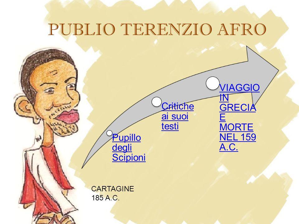 PUBLIO TERENZIO AFRO CARTAGINE 185 A.C. Pupillo degli Scipioni