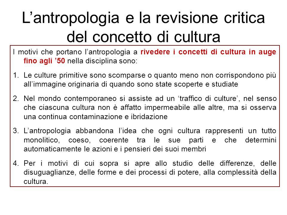 L'antropologia e la revisione critica del concetto di cultura