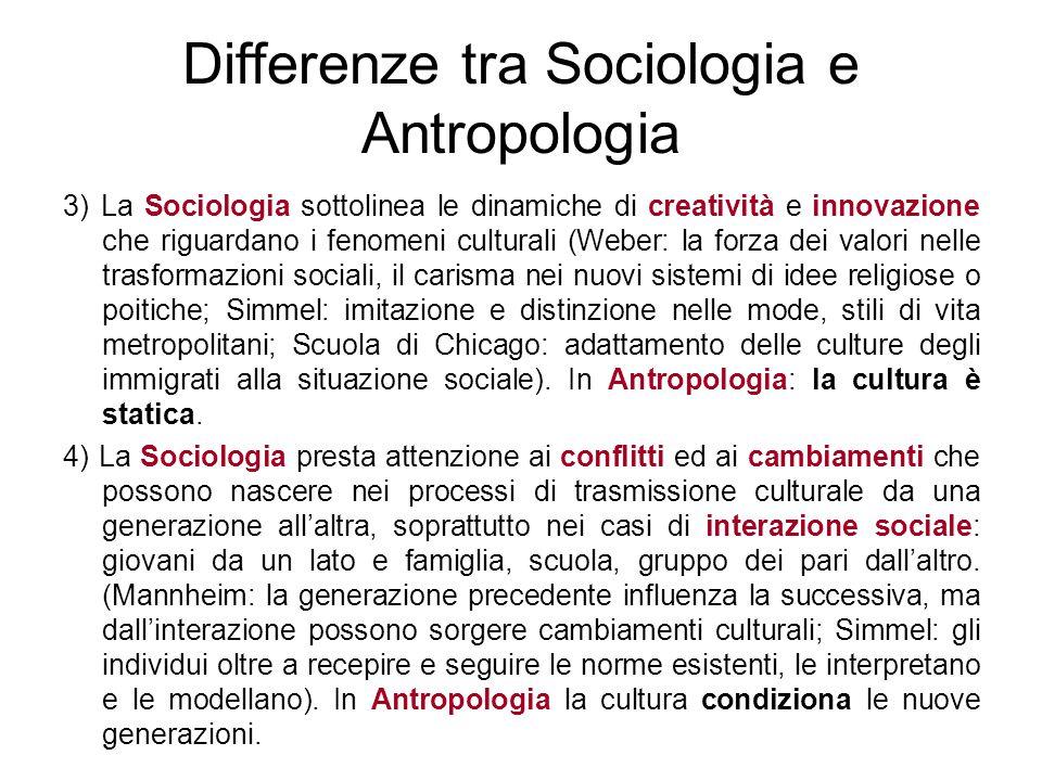Differenze tra Sociologia e Antropologia