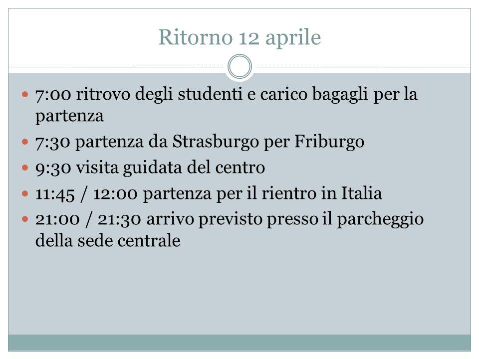 Ritorno 12 aprile 7:00 ritrovo degli studenti e carico bagagli per la partenza. 7:30 partenza da Strasburgo per Friburgo.