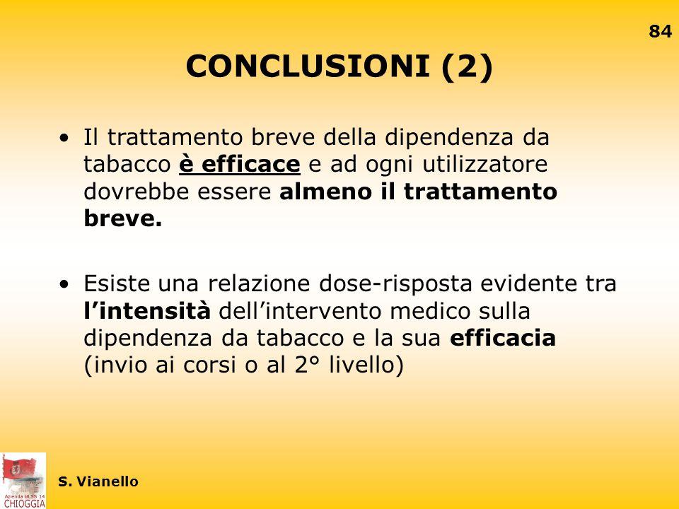 CONCLUSIONI (2) Il trattamento breve della dipendenza da tabacco è efficace e ad ogni utilizzatore dovrebbe essere almeno il trattamento breve.