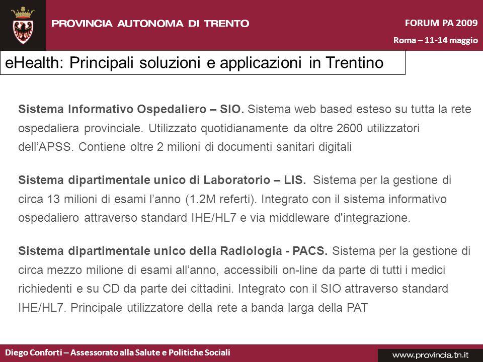 eHealth: Principali soluzioni e applicazioni in Trentino