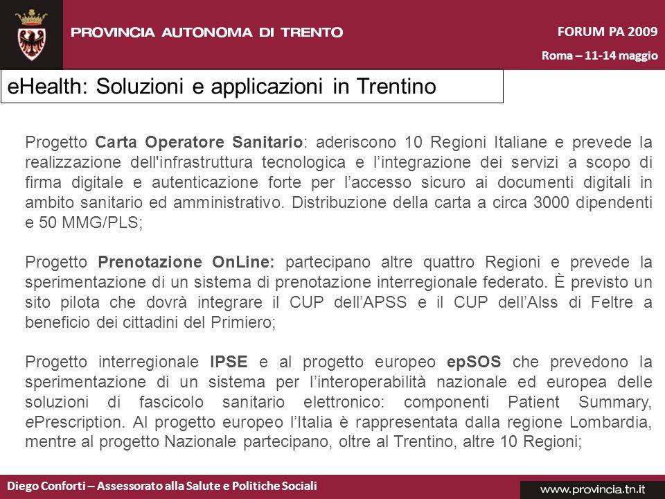 eHealth: Soluzioni e applicazioni in Trentino