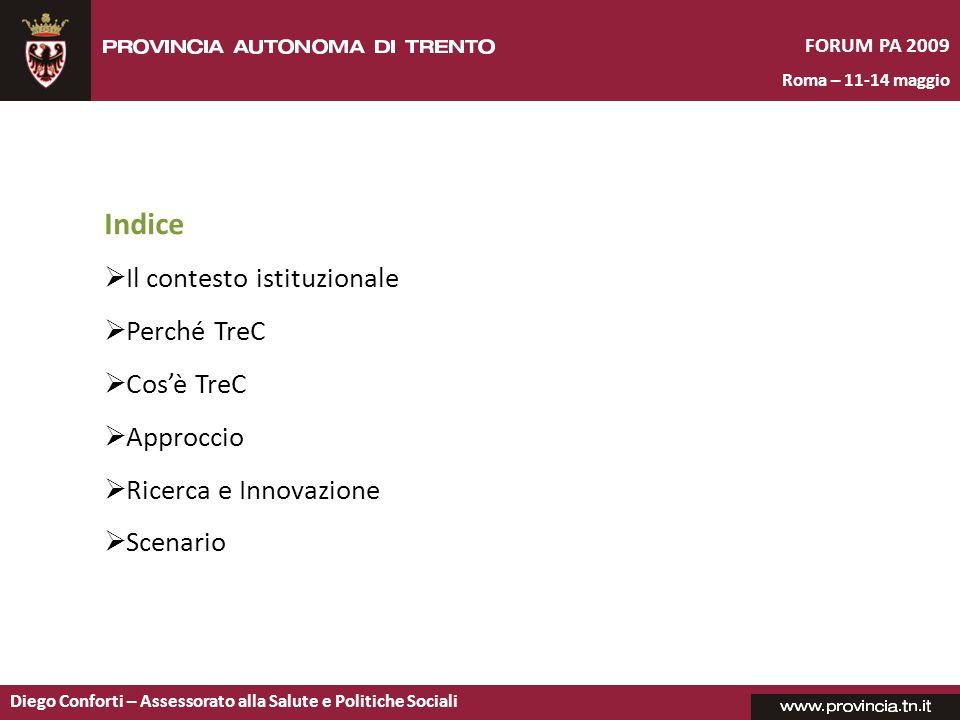 Indice Il contesto istituzionale Perché TreC Cos'è TreC Approccio
