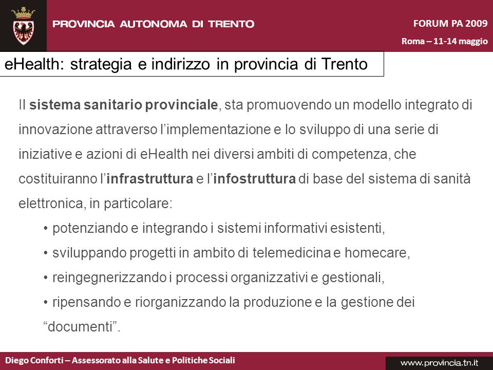 eHealth: strategia e indirizzo in provincia di Trento