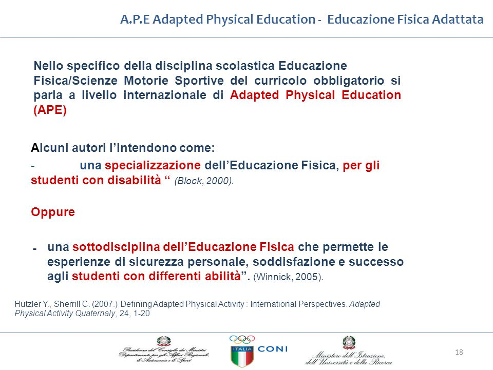 A.P.E Adapted Physical Education ‐ Educazione Fisica Adattata