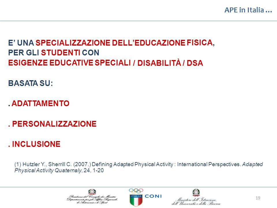 APE in Italia … E' UNA SPECIALIZZAZIONE DELL'EDUCAZIONE