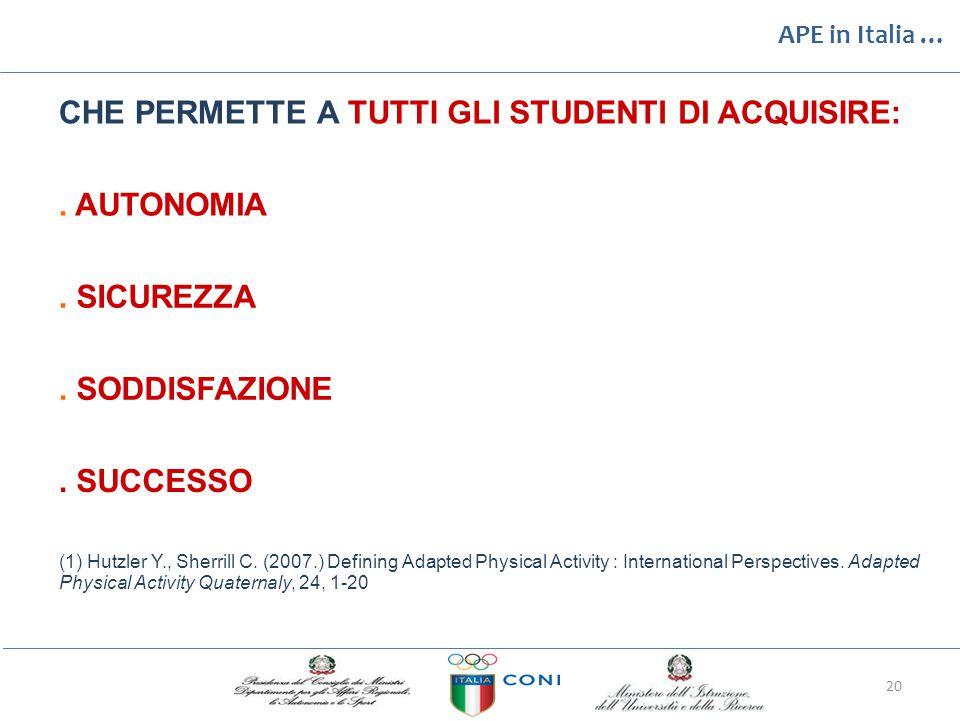 APE in Italia … CHE PERMETTE A TUTTI GLI STUDENTI DI ACQUISIRE: .