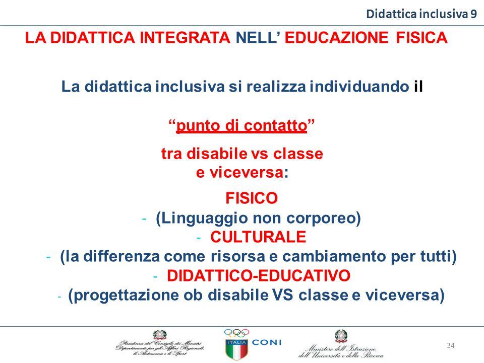 Didattica inclusiva 9 LA DIDATTICA INTEGRATA NELL' EDUCAZIONE FISICA