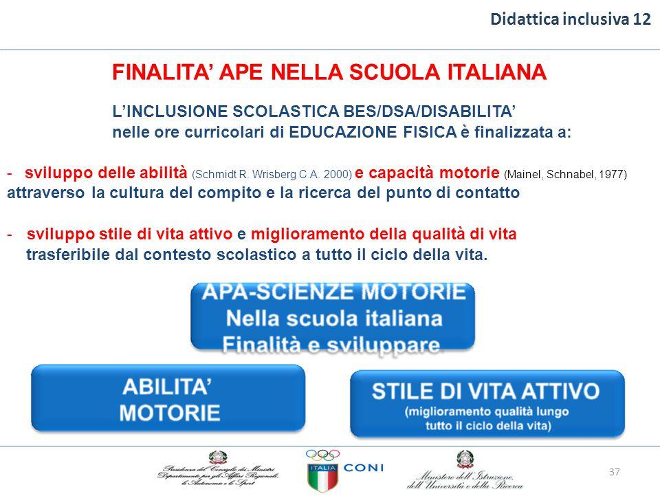 Didattica inclusiva 12 FINALITA' APE NELLA SCUOLA ITALIANA