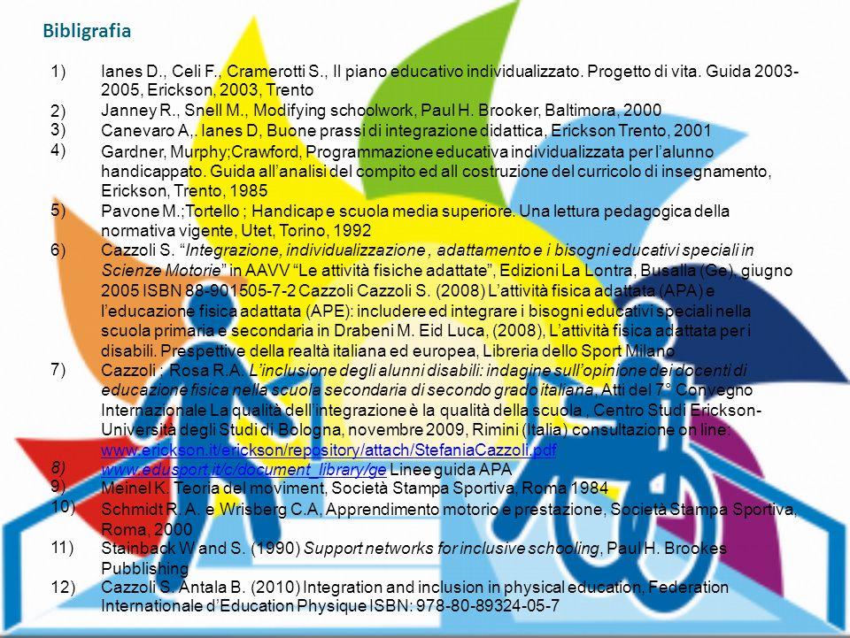 Bibligrafia 1) Ianes D., Celi F., Cramerotti S., Il piano educativo individualizzato. Progetto di vita. Guida 2003-