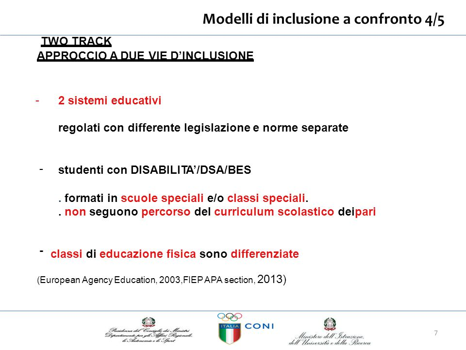 Modelli di inclusione a confronto 4/5 TWO TRACK