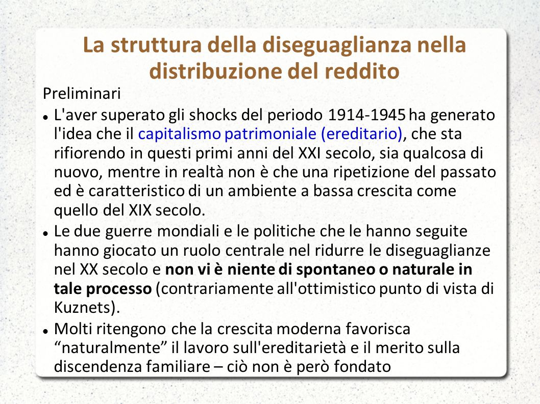 La struttura della diseguaglianza nella distribuzione del reddito