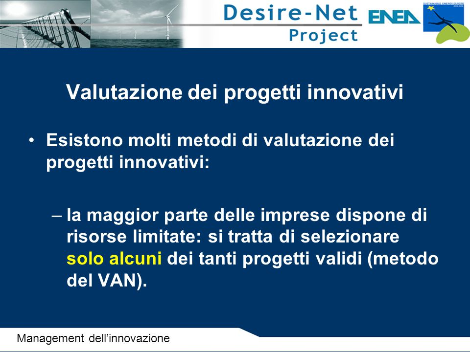 Valutazione dei progetti innovativi