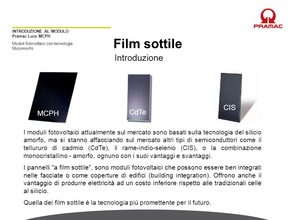 Film sottile Introduzione CIS CdTe MCPH