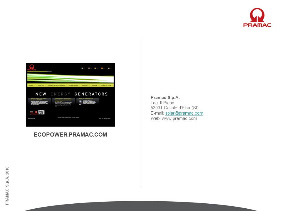 ECOPOWER.PRAMAC.COM Pramac S.p.A. Loc. Il Piano