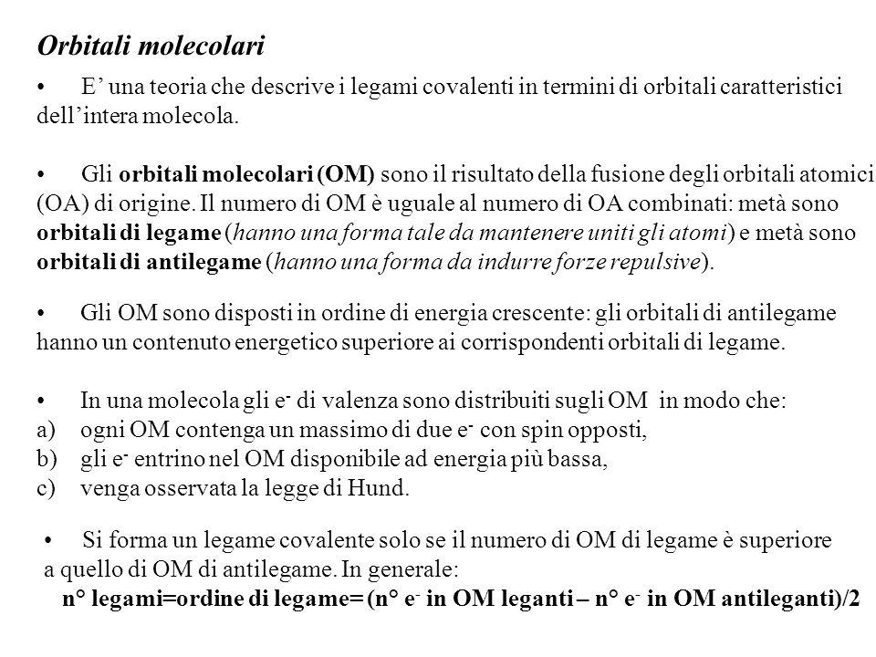 Orbitali molecolari E' una teoria che descrive i legami covalenti in termini di orbitali caratteristici.