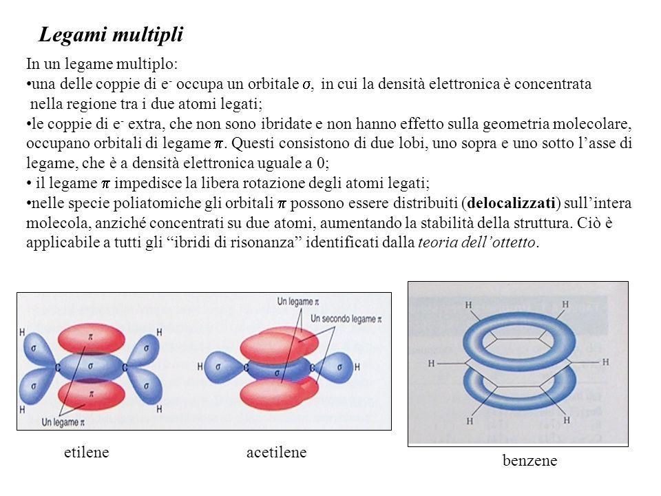 Legami multipli etilene acetilene In un legame multiplo:
