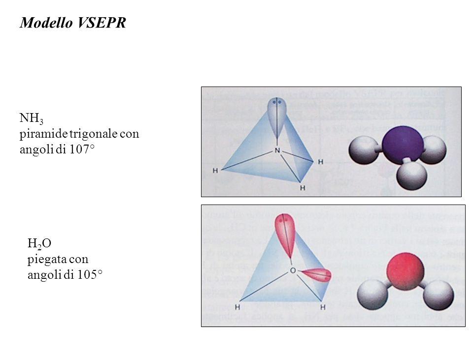Modello VSEPR NH3 piramide trigonale con angoli di 107° H2O