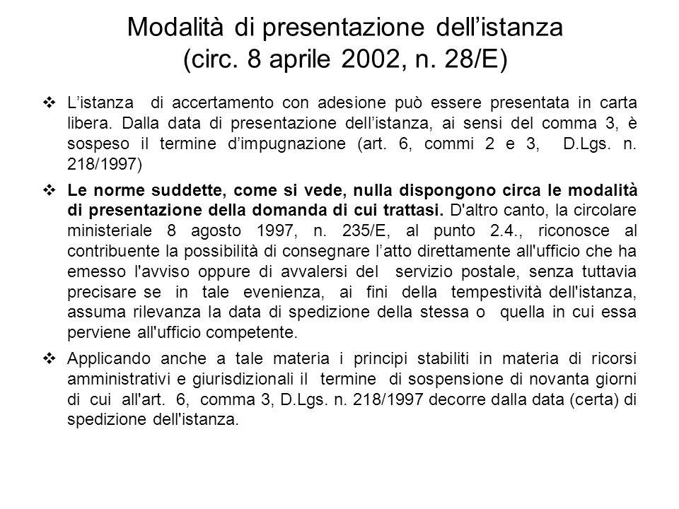Modalità di presentazione dell'istanza (circ. 8 aprile 2002, n. 28/E)
