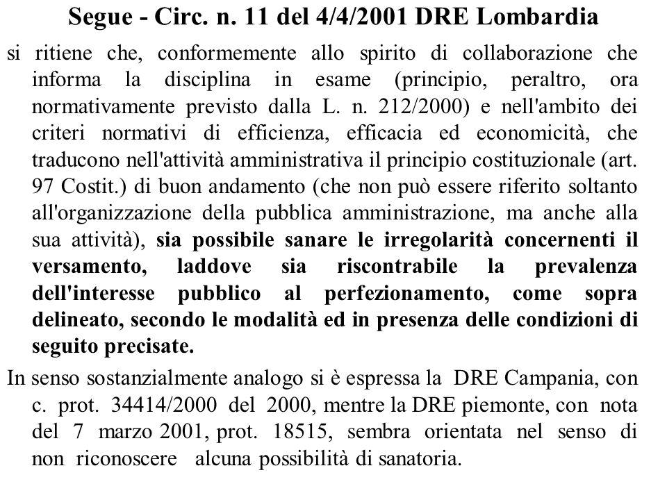 Segue - Circ. n. 11 del 4/4/2001 DRE Lombardia