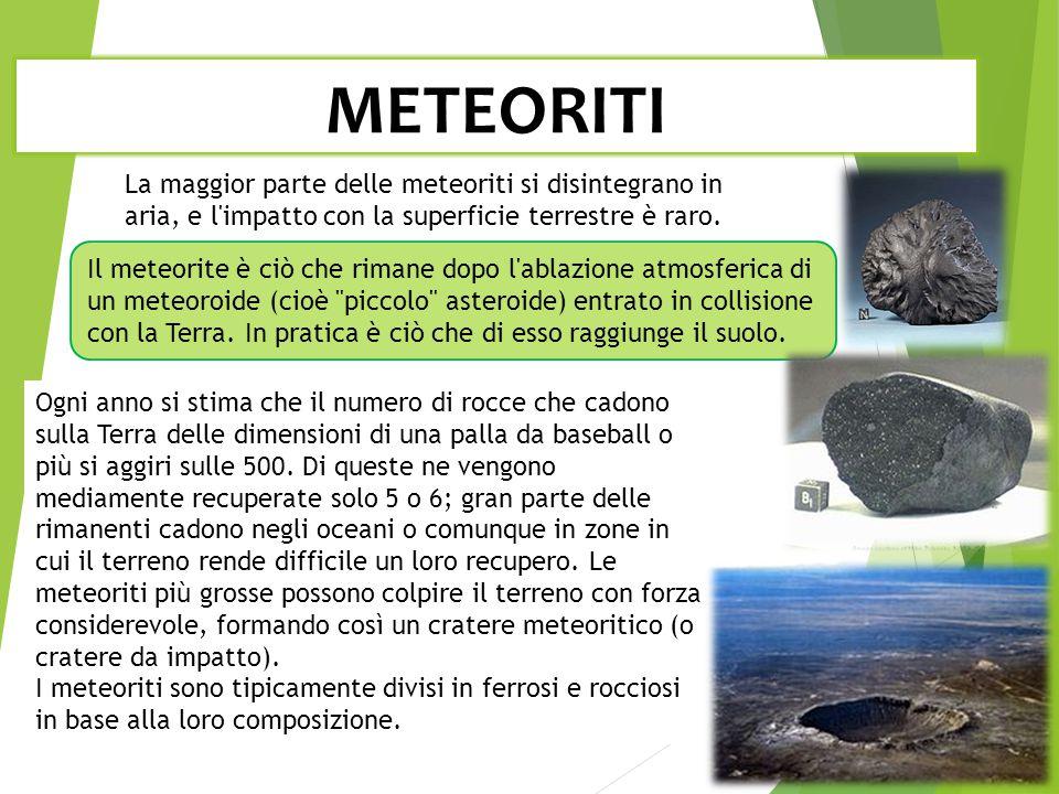 METEORITI La maggior parte delle meteoriti si disintegrano in aria, e l impatto con la superficie terrestre è raro.