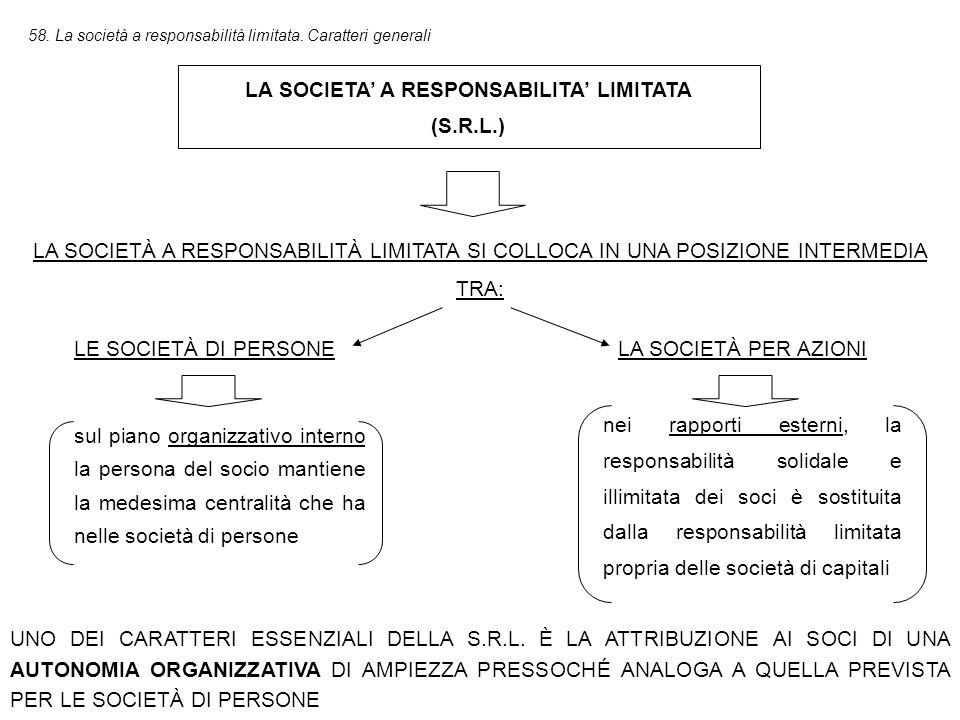 LA SOCIETA' A RESPONSABILITA' LIMITATA